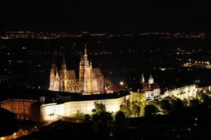 Prague by night during the tour on an airplane, an unusual excursion in Prague